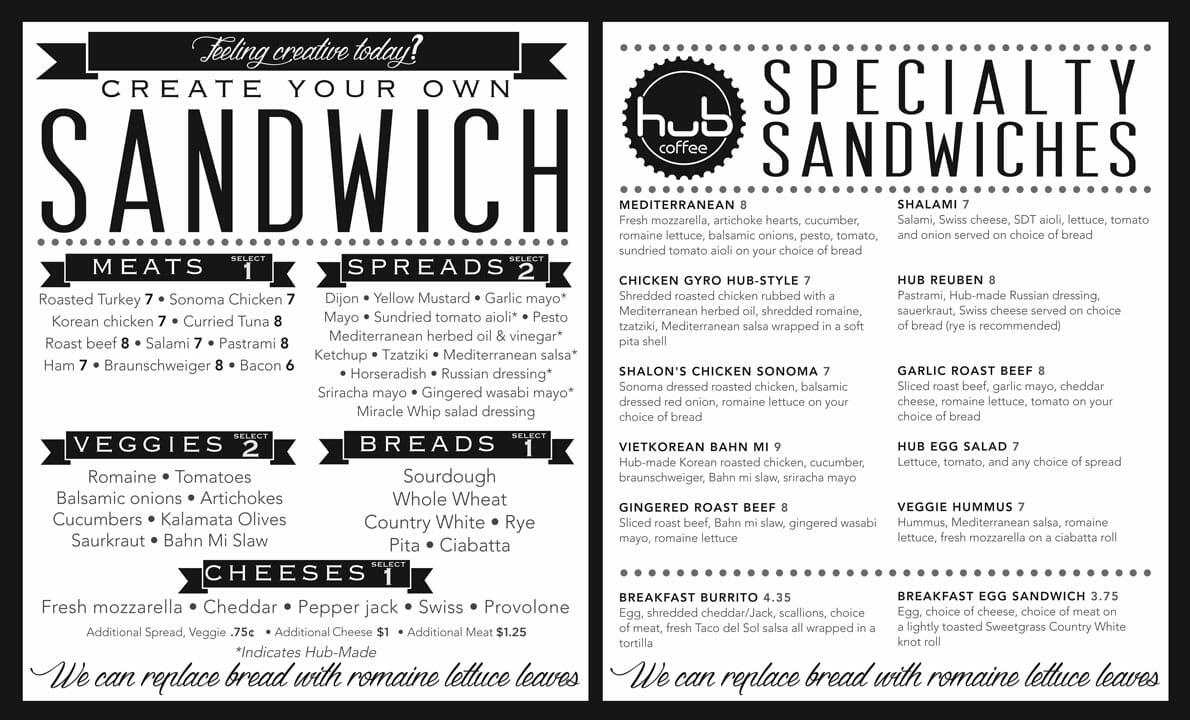 Hub Sandwich Menu