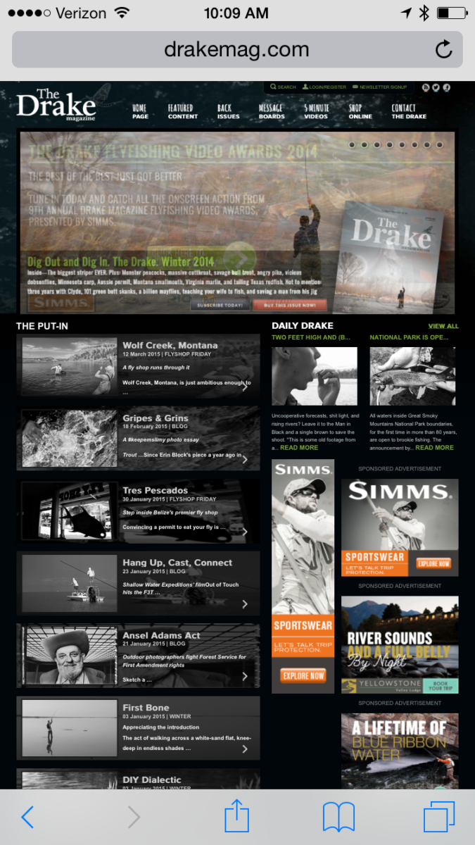 Home Page of The Drake Online with Wolf Creek topping the list of features.